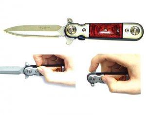 Red Wood Handle Spring Assisted Pocket Knife