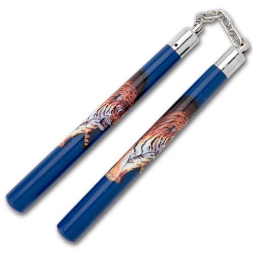 Blue Tiger Chain Nunchukas