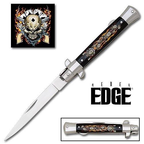 Rebel Edge Folding Stiletto Knife & Poster - Dead Man