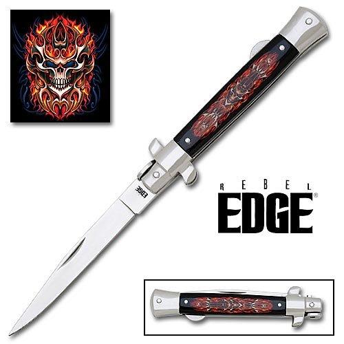 Rebel Edge Folding Stiletto Knife & Poster - Tribal Mask