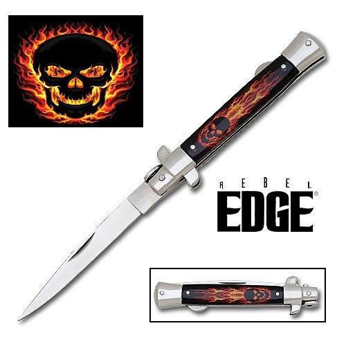 Rebel Edge Folding Stiletto Knife & Poster - Blackout Skull