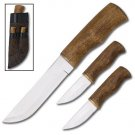 3 Piece Wood Handle Hunting Knife Set