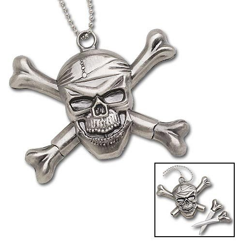 Pirate Skull Knife Necklace with 2 Bone Daggers