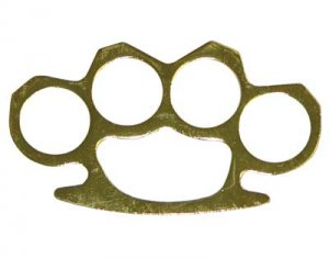 Full Size Brass Knuckles Paper Weight - Gold