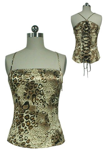Gorgeous Silky Leopard Animal Print Ribbon Lace Up Corset Shirt Top Bustier M Medium Club Dancer NEW