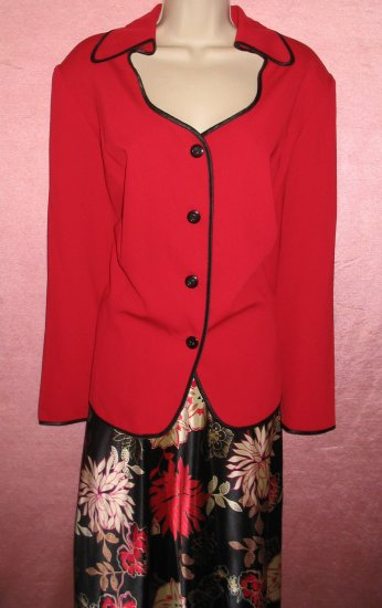 DANA KAY Skirt Suit Red Blazer Jacket Floral Shoulder Pads Lined 24W 3X Retail $79 NEW WITH TAGS