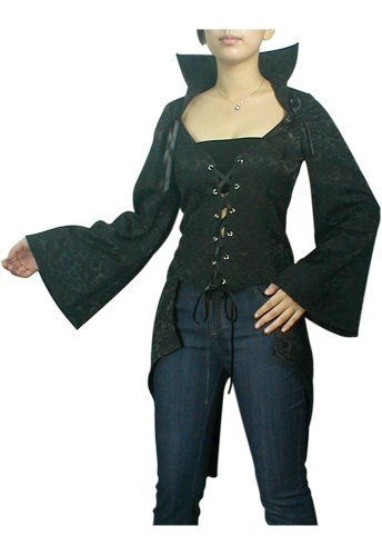 Midnight Black Lace Up Tuxedo Corset Jacket Shirt Gothic Renaissance Club Vampire Sleeve L Large NEW