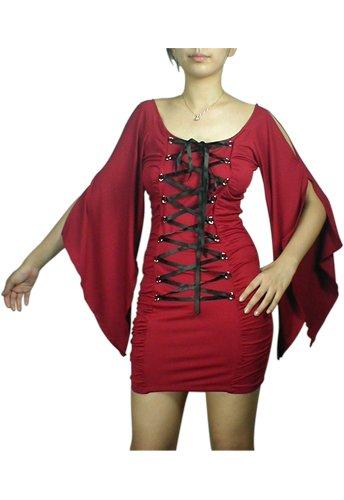 Sexy Red Black Lace Up Corset Mini Dress Shirt Gothic Renaissance Club Vampire Sleeves 2X NEW