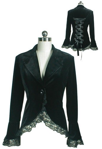 Black Velvet Lace Satin Ribbon Corset Blazer Jacket Shirt Renaissance Gothic Medieval L Large NEW