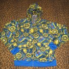 Blue Gold Skull Hoodie Jacket Gothic Punk Rapper Musician Club Emo M Medium NEW WITH TAGS