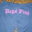 Victoria's Secret Royal Love Pink Varsity Blue Pants Dog Logo Sweats PJ S Small NEW WITH TAGS