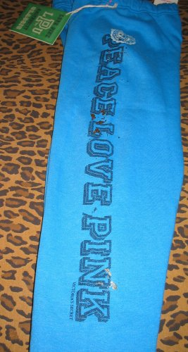 VICTORIA'S SECRET Peace Love PINK Hippie Blue Pants Sweats PJ Gold Glitter S Small New With Tags