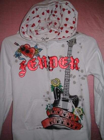 FENDER ROCK Guitar Hoodie Shirt Tattoo Musician Gothic Punk Groupie XL X-LARGE NEW WITH TAGS