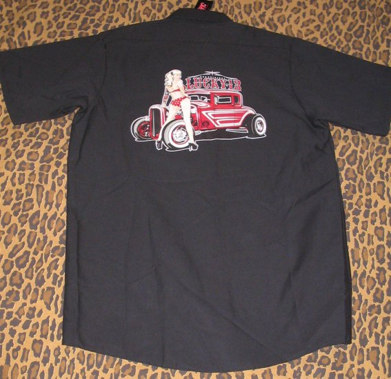 LUCKY 13 Mens Black Work Style Shirt Bikini Pin Up Girl Hot Rod Car Cruise Club S Small NEW WITH TAG