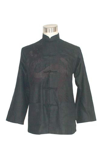 Mens Black Embroidered Chinese Dragon Shirt Kung Fu Gothic Club Musician S SMALL NEW