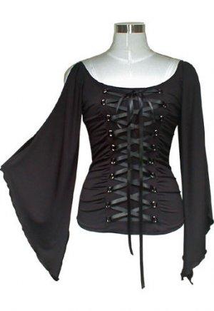 Midnight Black Ribbon Lace Up Corset Shirt Top Gothic Vampire Renaissance Medieval Club XXL 2X NEW