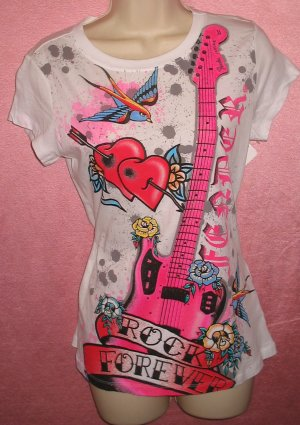 Licensed FENDER Guitar Womens White Pink T-Shirt Musician Band Rock Emo Punk L Large New With Tags