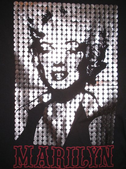 Licensed MARILYN MONROE Black T-Shirt Shiny Foil Front Pin Up Play Girl M MEDIUM New With Tags