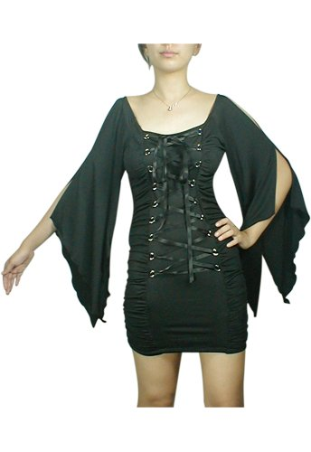 Midnight Black Lace Up Corset Mini Dress Gothic Club Renaissance Medieval Vampire Sleeve L Large NEW