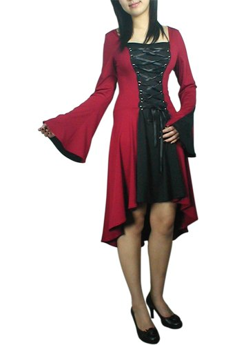 Black Red Lace Up Corset Dress Asymmetric Hem Gothic Renaissance Vampire Club Medieval M MEDIUM NEW