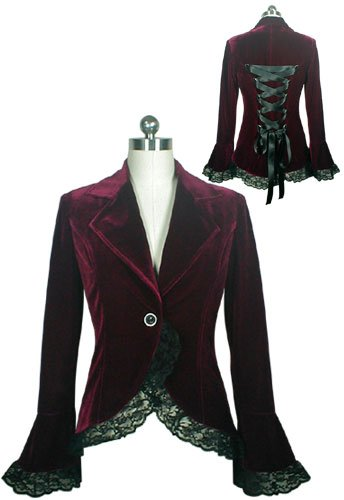 Brgndy Velvet Lace Trim Satin Ribbon Corset Blazer Jacket Renaissance Gothic Medieval M Medium NEW