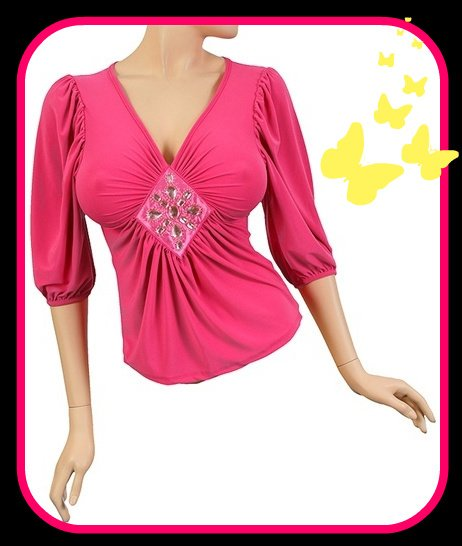 Hot Pink Bedazzling Jeweled Top Medium