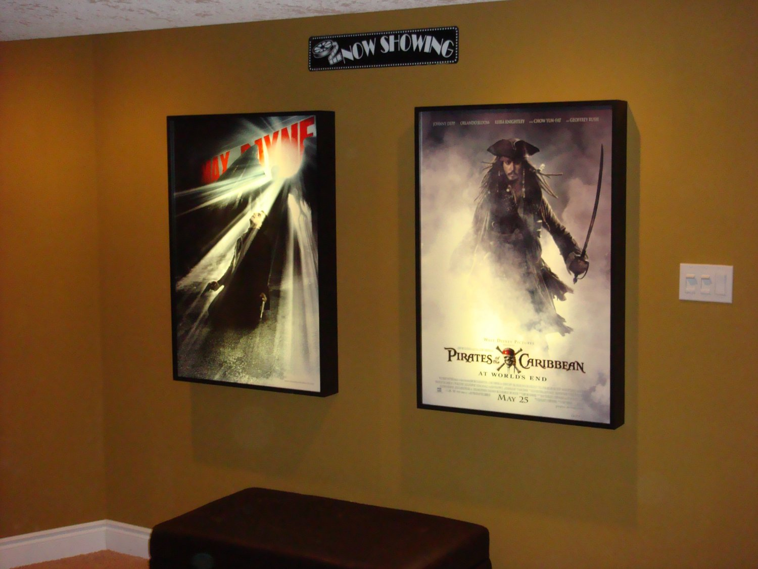 movie poster light box display case dart board room