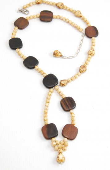 Asymetrical Wood and Yellow Agate Necklace