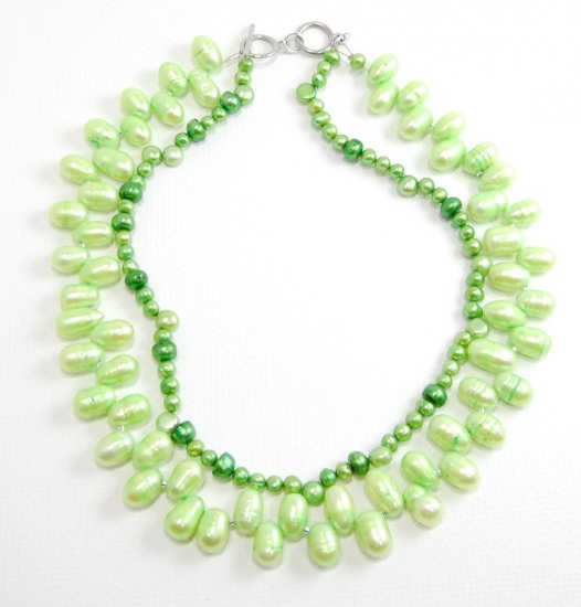 Green Freshwater Pearl Multistrand Necklace