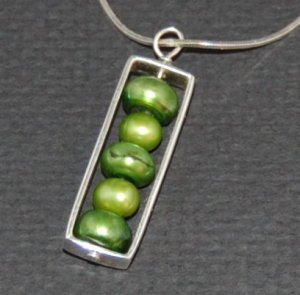 Rectangular Freshwater Pearl Pendant on Sterling Silver Snake Chain