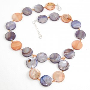 Brown and Blue Mother of Pearl Necklace