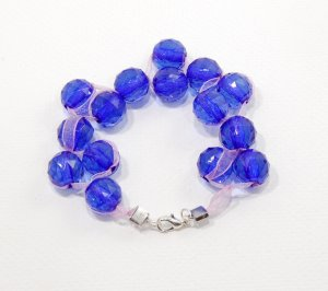 Blue Resin and Ribbon Bracelet