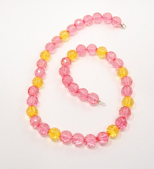 Pink and Amber Resin Necklace