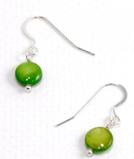 Green Mother of Pearl Earrings