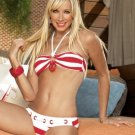 amy  Striped Bandau Bikini with Rope Weave Bottom
