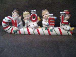 Relco Vintage NOEL Candle Holder Angels on Candy Cane Sled
