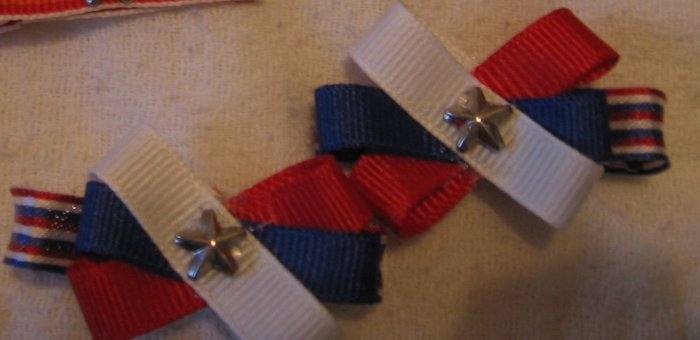 red White and Blue Barrettes