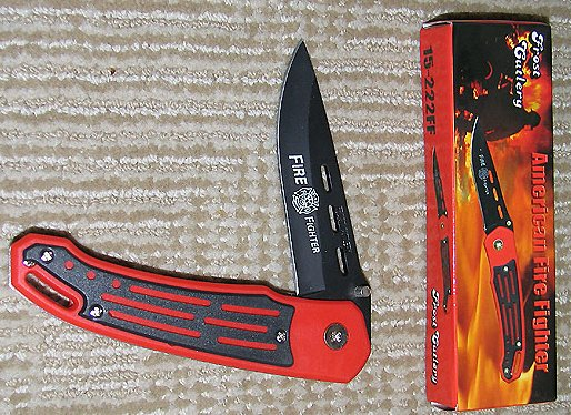 American Firefighter Liner Lock w/etched blade