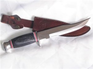 "Hunting Knife 12"" w/Leather Sheath-Blk PakkaWood Handle"