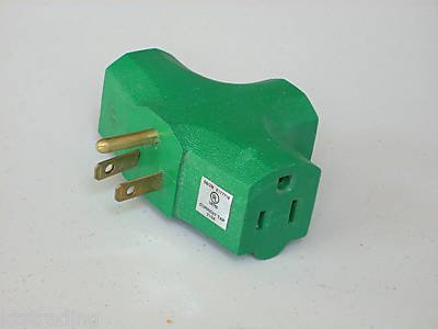 3 POWER OUTLET ADAPTER - green color