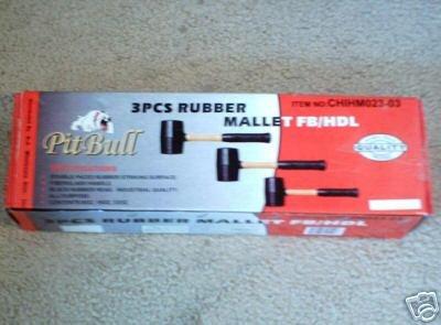 3 Pcs Rubber Mallet Fb/Hdl