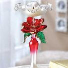 GLASS ROSE CANDLEHOLDER