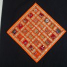 Checkerboard Sari Pillow Cover in Orange Multicolors - 100% Handmade