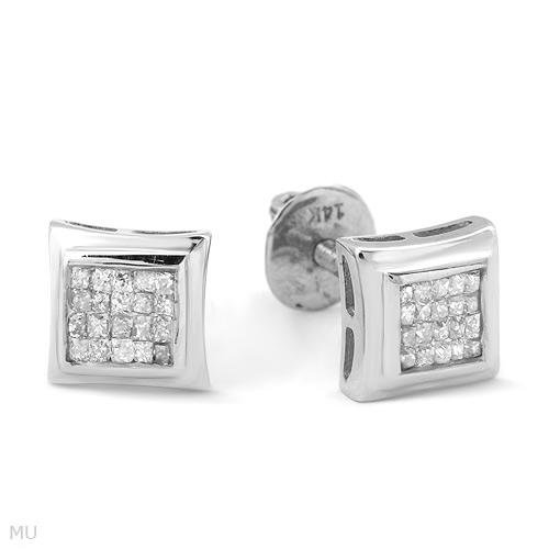 Eye Catching .30ctw Princess Cut Diamond Earrings