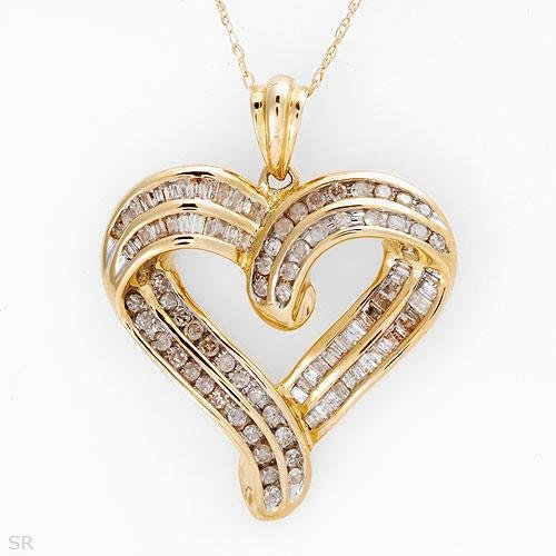 1.00 C Diamond Heart Shaped Necklace