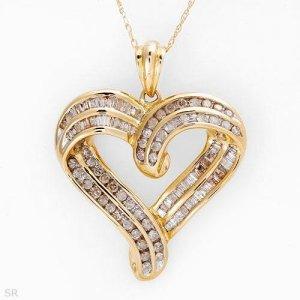 1.00 C Diamond Heart Shaped Necklace
