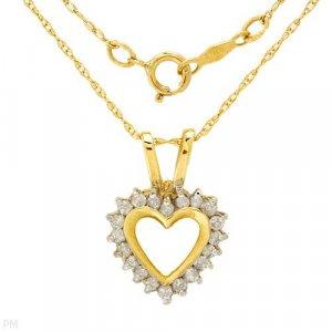 Necklace w/ Heart Shaped Diamond Pendant .20ctw