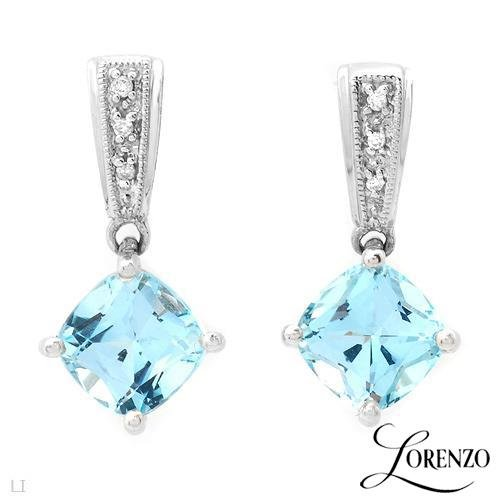 3.90 ctw Lorenzo Princess Cut Diamond & Topaz Earrings