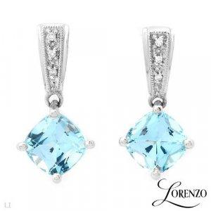 3.90 ctw Lorenzo Princess Cut Diamond & Topaz Earrings