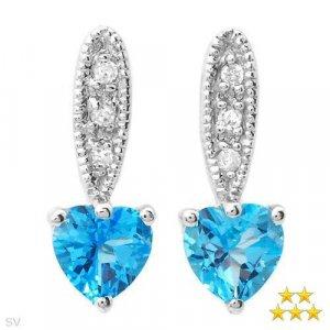 .75 ctw Lorenzo Heart Shaped Diamond & Topaz Earrings